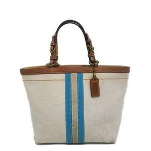 COACH Signature Stripe Cream Mini Tote Handbag